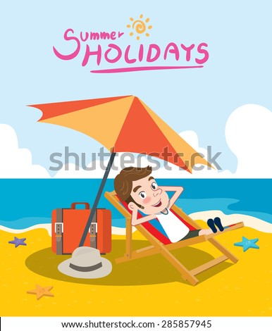 Summer holidays vector illustration,flat design beach and sunbed concept - stock vector