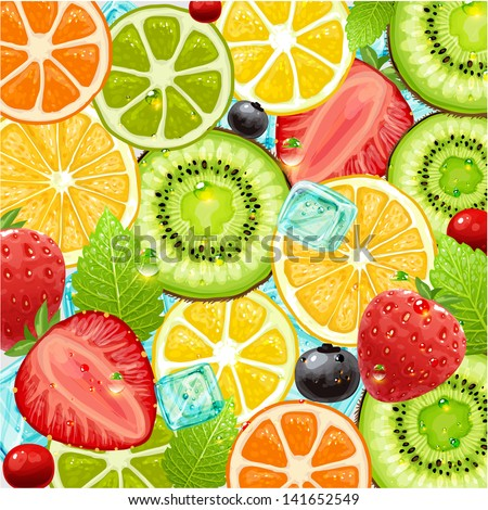 Summer holidays vector illustration set with cocktail fruits and berries. Strawberry, cherry, orange, lemon and ice cube for best summer design. - stock vector