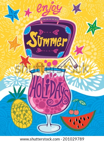 Summer holidays vector illustration set with suitcase, cocktail, sun, watermelon, pineapple, sea, fruits and berries.