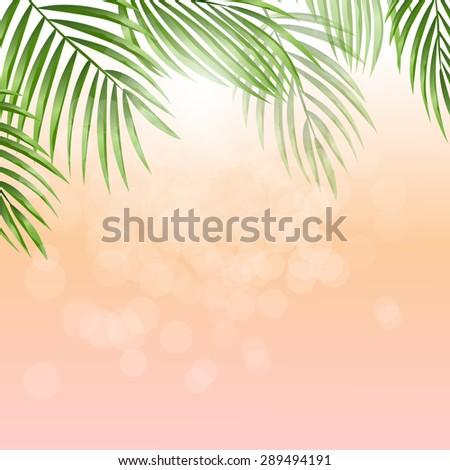 Summer holidays vector illustration. Sunlight through trees. Palm leaves on pink background with bokeh effect. EPS 10. - stock vector