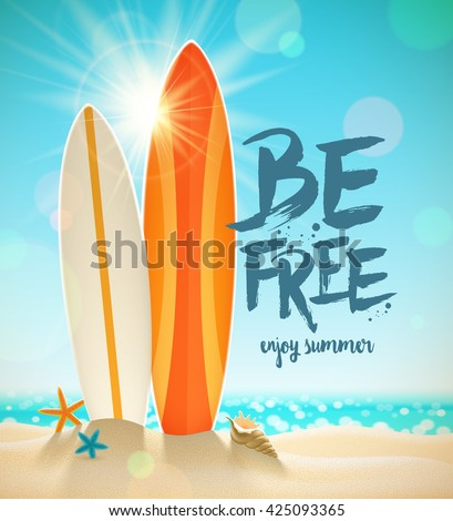 Summer holidays vector illustration with brush calligraphy. Surfboards, starfish and shell on a sunny tropical beach. Design for greeting card, poster or invitation.