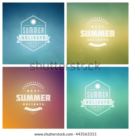 Summer Holidays Vector Retro Typography Set. Messages and Illustrations for Greeting Cards, Party Posters or Flyers Design Vector Backgrounds. Blurred Landscape and Sky with Sun. - stock vector
