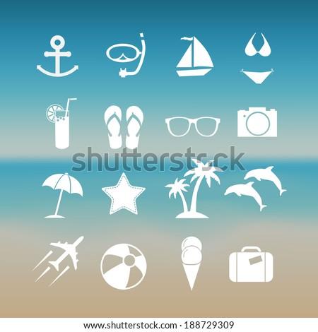 Summer icon set  - stock vector