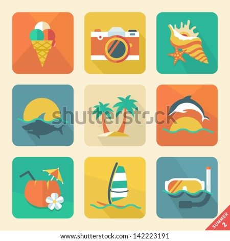 Summer icon set 2. Flat design trend. Retro color. Vector illustration. - stock vector