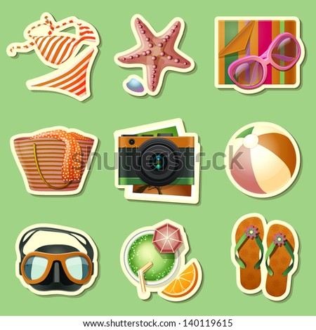 summer icon set of  stickers - stock vector