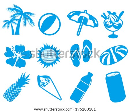 summer icon set Vector - stock vector