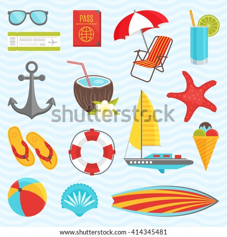 Summer icon set with equipment for a tourist who is traveling and relaxing on vacation vector illustration