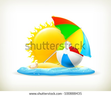 Summer icon, vector - stock vector