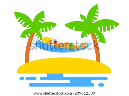 Summer icon with island and palms, and hammock - stock vector