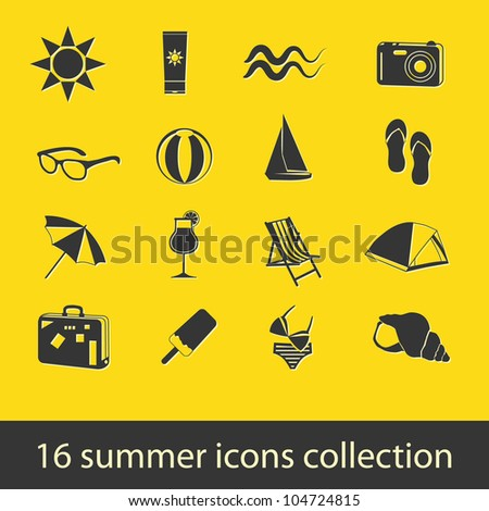 summer icons collection - stock vector