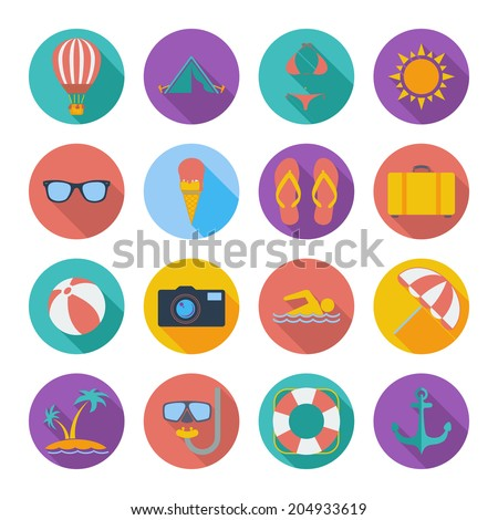 Summer icons set. Color flat vector illustration. - stock vector