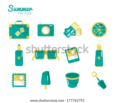 Summer Icons Set 1. Flat design. Vector - stock vector