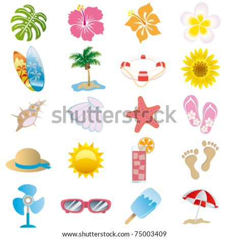 Summer icons set. Illustration vector. - stock vector