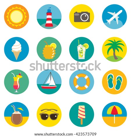 Summer icons. Set of sixteen vector icons.