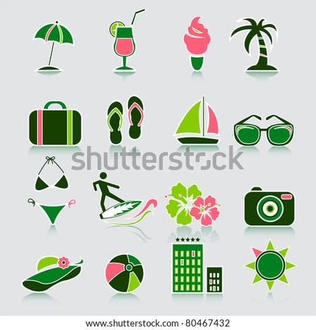 Summer icons, vector - stock vector