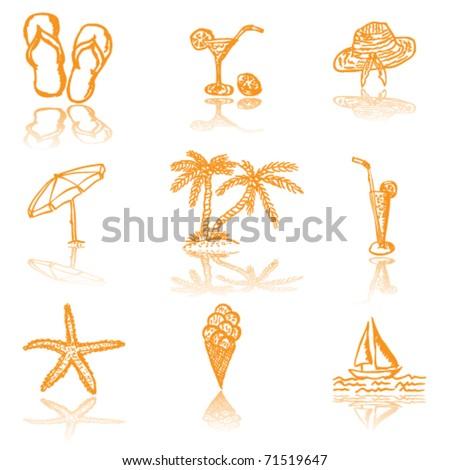 Summer icons - vector illustration - stock vector