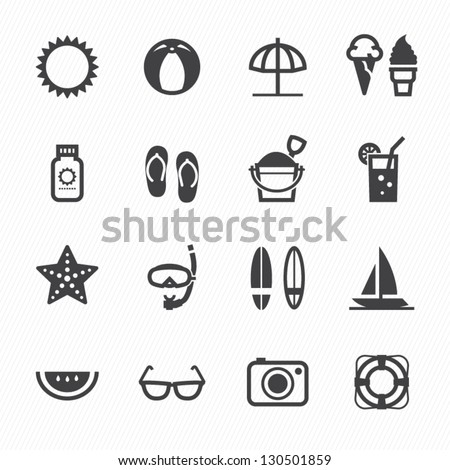 Summer Icons with White Background - stock vector