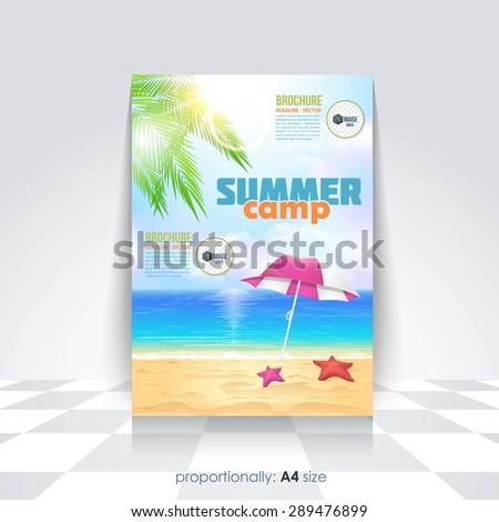 Summer Illustration, Travel or School Camp Flyer, Brochure Design Template - stock vector
