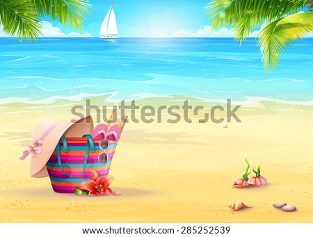 Summer illustration with a beach bag in the sand against the sea and white sailboat - stock vector