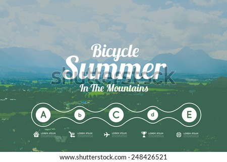 Summer in the mountains - stock vector