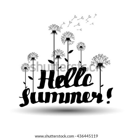 summer, inscription, hello summer, dandelion vector background botany flower fluffy - stock vector