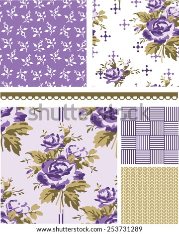 Summer Inspired Floral Seamless Vector Patterns. Use to create fills, wallpaper, digital paper or print onto fabrics to create unique items. - stock vector