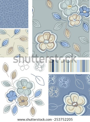 Summer Inspired Seamless Floral Patterns and Icons. Use as fills, digital paper, or print off onto fabric to create unique items. - stock vector