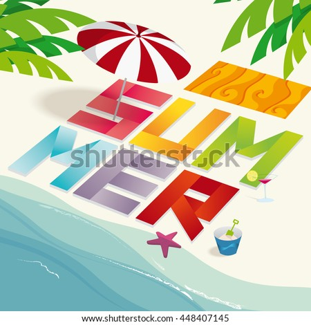 Summer isometric on beach in vector illustration