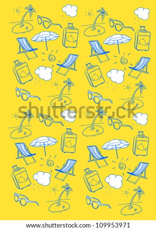Summer items on a yellow background