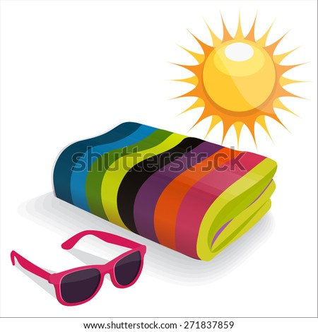 Summer Items. Vector Set - stock vector