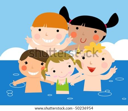 Summer kids having fun - stock vector