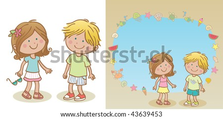 Summer kids (with frame). Vector illustration of a cute couple of children wearing summer clothes. Blank background kids and kids in frame composition are in different layers, easy to edit. - stock vector