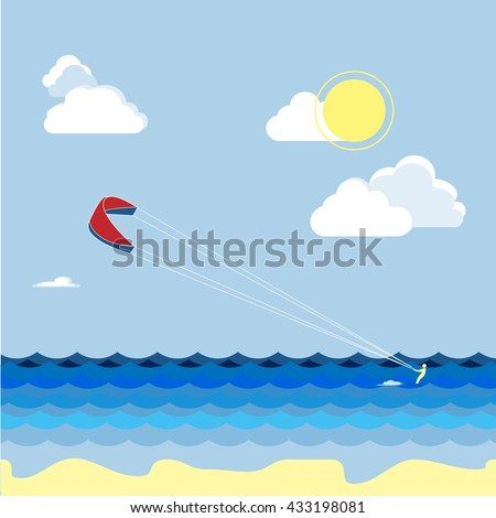 Summer kitesurfing sport. Man skiers on the water, summer vacation. Vector work flat