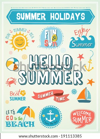 Summer Labels and Design Elements - stock vector