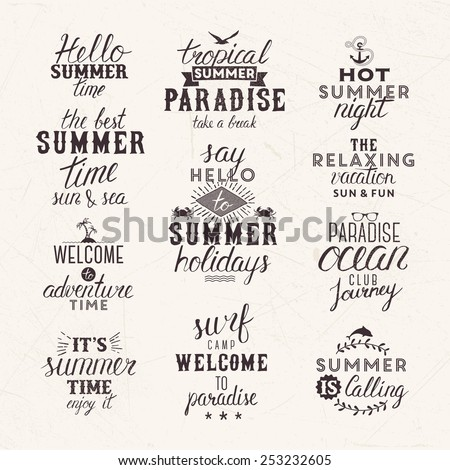 Summer labels and elements - stock vector