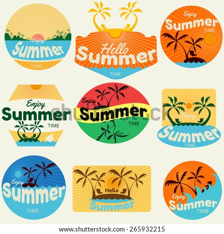 summer labels, labels, badges and icons - stock vector