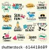 Summer labels, logos, hand drawn tags and elements set for summer holiday, travel, beach vacation, sun. Vector illustration.
