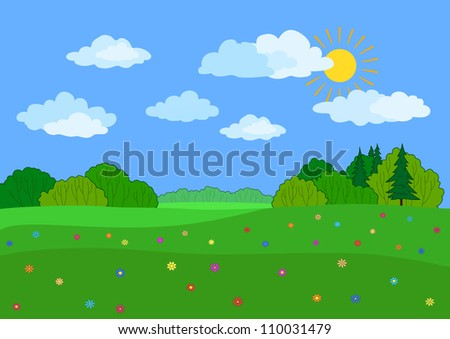 Summer landscape: a green meadow, flowers, forest and blue sky with clouds. Vector illustration - stock vector