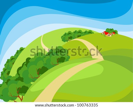 summer landscape fields and meadows in the distance on the horizon, there are rustic cabins - stock vector