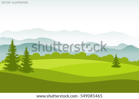 Summer landscape. Flat style vector illustration. Background
