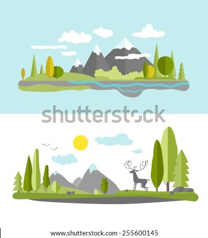 Summer landscape in flat style.