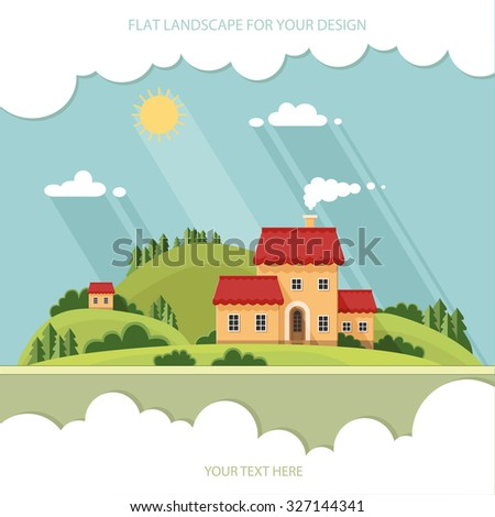 summer landscape.Little city street with small houses and trees. Flat style vector illustration.