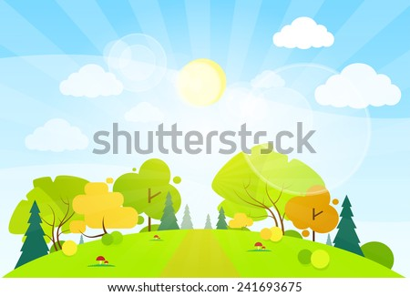 summer landscape mountain forest road blue cloud sky with sun green grass and tree woods flat design vector illustration - stock vector