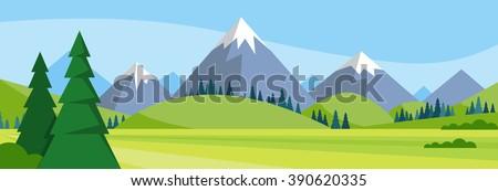 Summer Landscape Mountain Forest Sky Woods Flat Vector Illustration - stock vector
