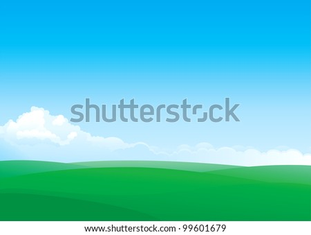 Summer landscape of green fields and blue sky with white Clouds - stock vector
