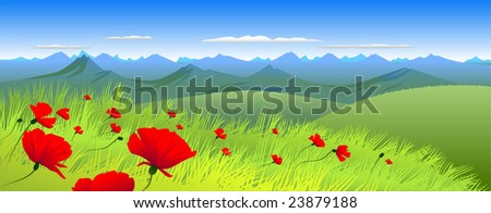 Summer Landscape of vector illustration - stock vector