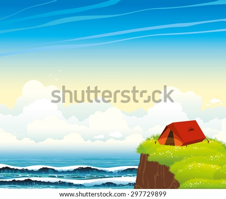 Summer landscape - red tourist tent with green grass and blue sea on a cloudy sky background. Nature vector illustration.  - stock vector