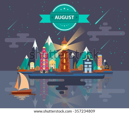 Summer landscape. Small town. Set 4. Month of August. Infographics. Calendar. Mountain, lighthouse, nature, park, urban, building, boat, sail, city. Flat design. Stock. Image. Illustration. Vector. - stock vector