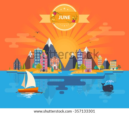 Summer landscape. Small town. Set 2 of urban buildings. Calendar. Month of June. Infographics. Mountain, sun, rays, nature, river, park, city. Flat design. Stock. Image. Illustration. Vector. - stock vector