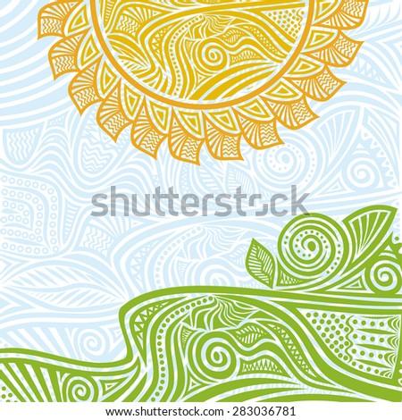 Summer landscape sun vector illustration - stock vector